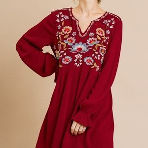 Umgee Burgundy Embroidered Dress